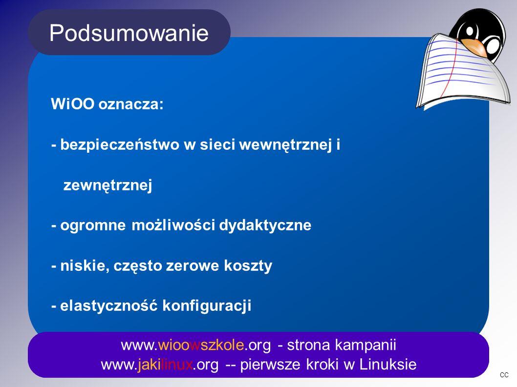 Podsumowanie www.wioowszkole.org - strona kampanii www.jakilinux.org -- pierwsze kroki w Linuksie WiOO oznacza: - bezpieczeństwo w sieci wewnętrznej i zewnętrznej - ogromne możliwości dydaktyczne - niskie, często zerowe koszty - elastyczność konfiguracji CC www.wioowszkole.org - strona kampanii www.jakilinux.org -- pierwsze kroki w Linuksie
