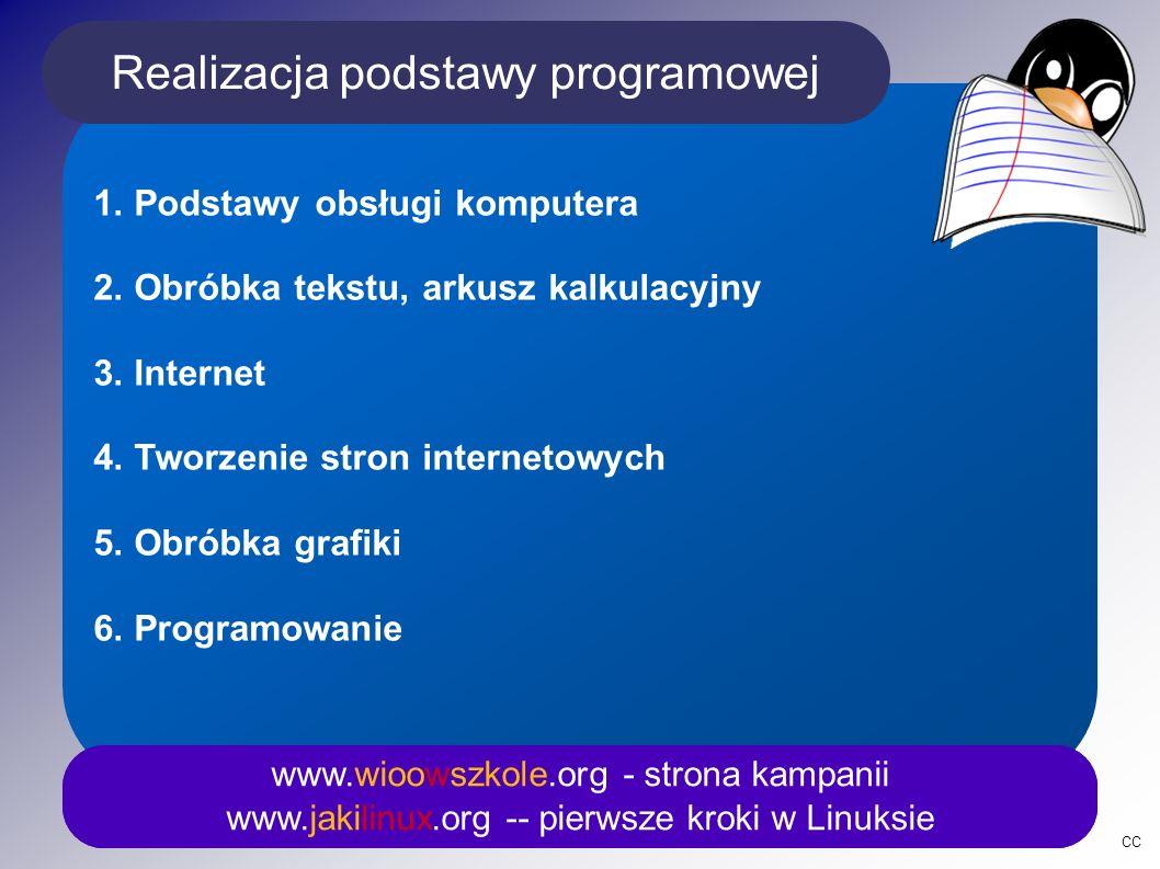 Ponadto www.wioowszkole.org - strona kampanii www.jakilinux.org -- pierwsze kroki w Linuksie Po zakończeniu kształcenia uczeń będzie potrafił: Samodzielnie i bezpiecznie posługiwać się systemem komputerowym (multimedialnym i przyłączonym do sieci) oraz jego oprogramowaniem.