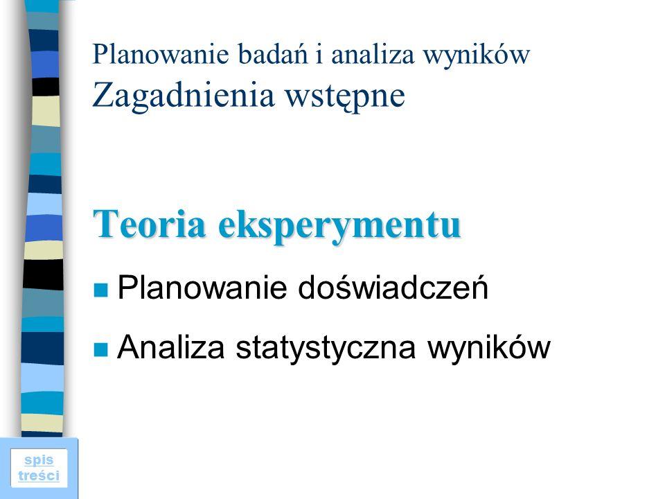 spis treści Planowanie badań i analiza wyników Zagadnienia wstępne Teoria eksperymentu n Planowanie doświadczeń n Analiza statystyczna wyników
