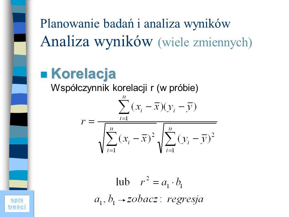 spis treści Planowanie badań i analiza wyników Analiza wyników (wiele zmiennych) n Korelacja n Korelacja Współczynnik korelacji r (w próbie)