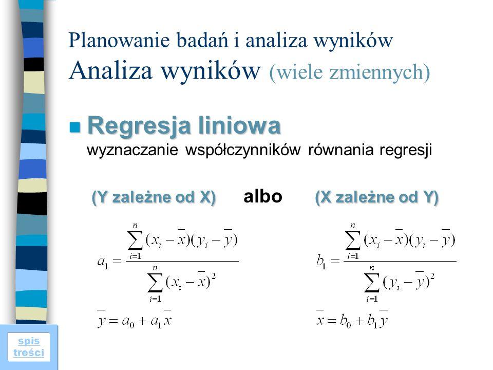 spis treści Planowanie badań i analiza wyników Analiza wyników (wiele zmiennych) n Regresja liniowa (Y zależne od X)(X zależne od Y) n Regresja liniowa wyznaczanie współczynników równania regresji (Y zależne od X) albo (X zależne od Y)