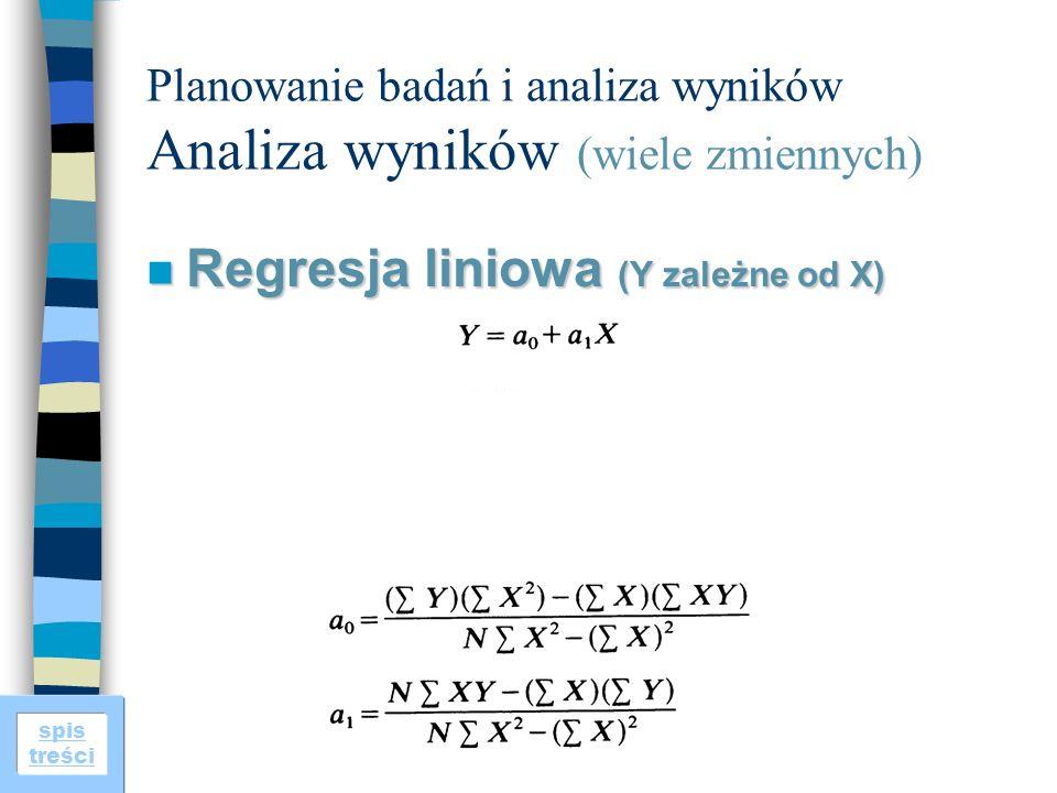 spis treści Planowanie badań i analiza wyników Analiza wyników (wiele zmiennych) n Regresja liniowa (Y zależne od X)