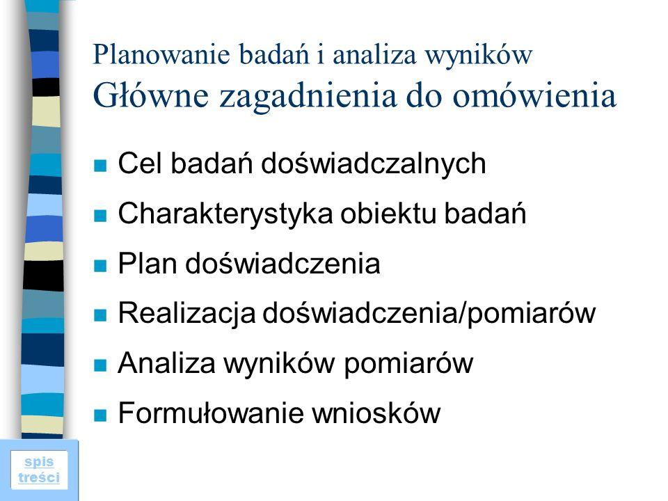 spis treści Planowanie badań i analiza wyników Główne zagadnienia do omówienia n Cel badań doświadczalnych n Charakterystyka obiektu badań n Plan dośw