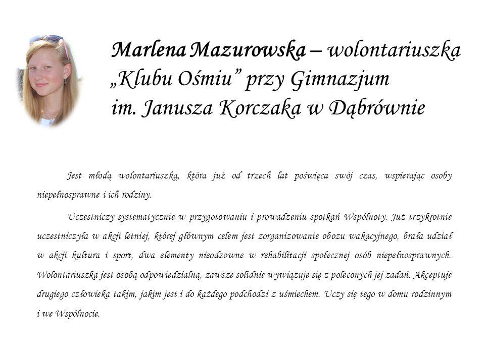 Marlena Mazurowska – wolontariuszka Klubu Ośmiu przy Gimnazjum im.