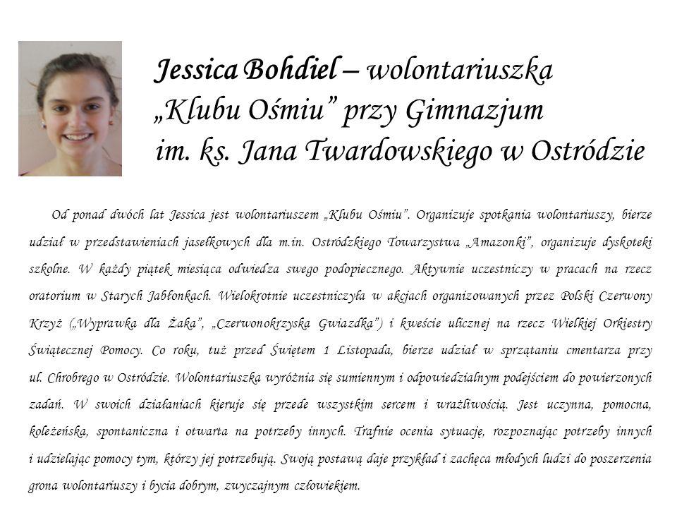 Jessica Bohdiel – wolontariuszka Klubu Ośmiu przy Gimnazjum im.