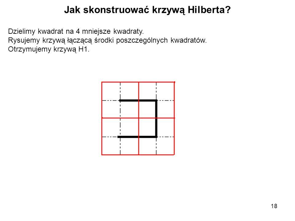 18 Jak skonstruować krzywą Hilberta. Dzielimy kwadrat na 4 mniejsze kwadraty.