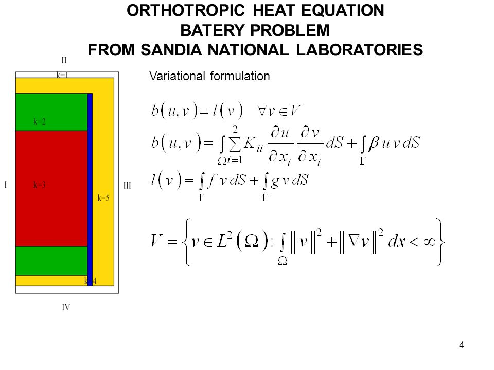 4 ORTHOTROPIC HEAT EQUATION BATERY PROBLEM FROM SANDIA NATIONAL LABORATORIES Variational formulation
