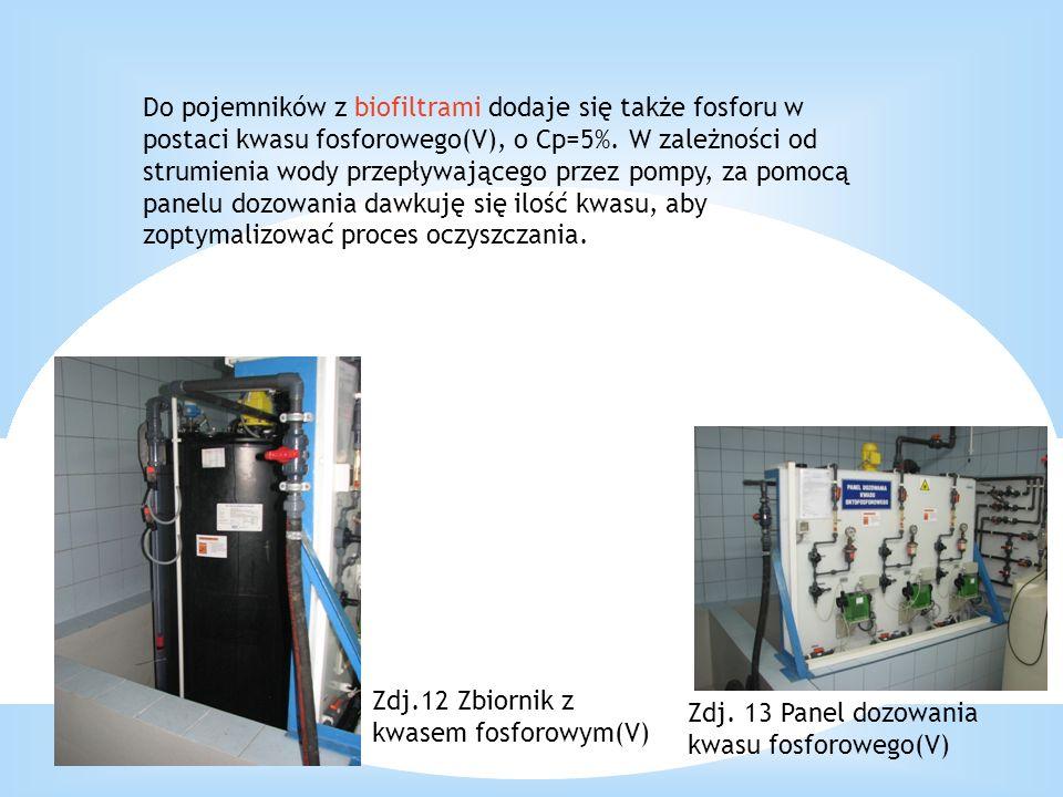 Do pojemników z biofiltrami dodaje się także fosforu w postaci kwasu fosforowego(V), o Cp=5%. W zależności od strumienia wody przepływającego przez po