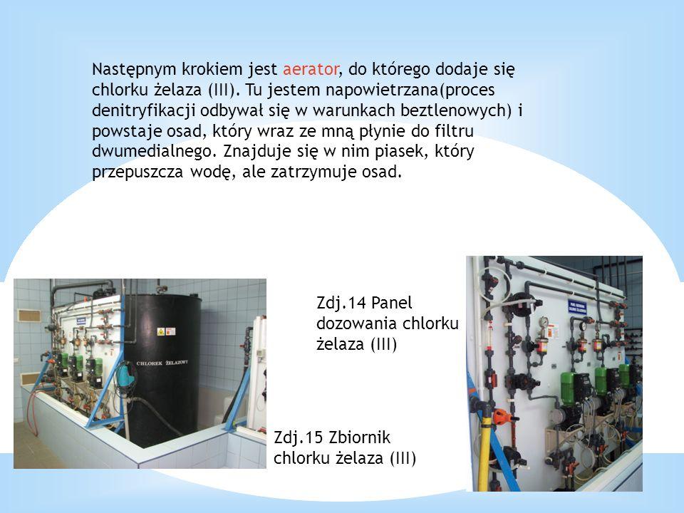 Następnym krokiem jest aerator, do którego dodaje się chlorku żelaza (III). Tu jestem napowietrzana(proces denitryfikacji odbywał się w warunkach bezt