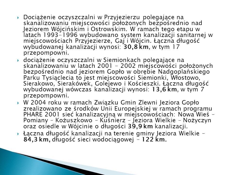 Dociążenie oczyszczalni w Przyjezierzu polegające na skanalizowaniu miejscowości położonych bezpośrednio nad Jeziorem Wójcińskim i Ostrowskim. W ramac