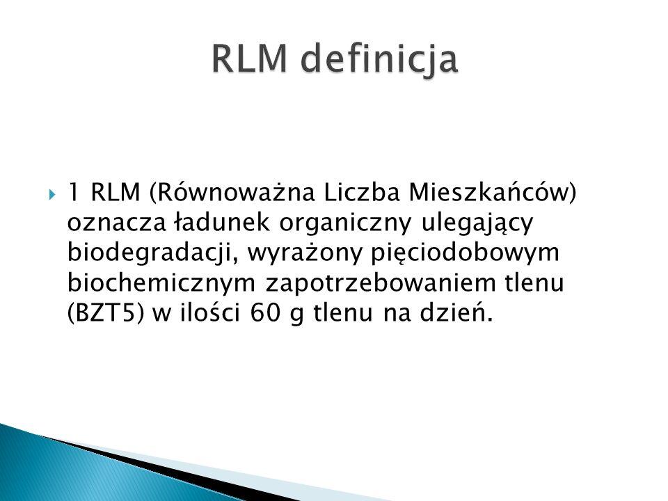 1 RLM (Równoważna Liczba Mieszkańców) oznacza ładunek organiczny ulegający biodegradacji, wyrażony pięciodobowym biochemicznym zapotrzebowaniem tlenu