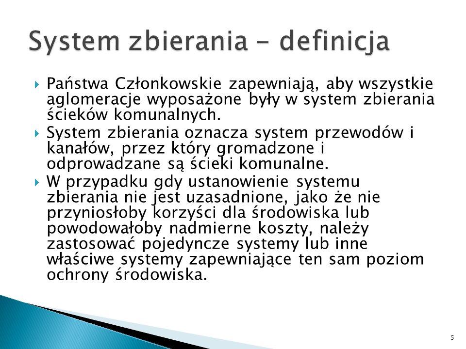 Państwa Członkowskie zapewniają, aby wszystkie aglomeracje wyposażone były w system zbierania ścieków komunalnych. System zbierania oznacza system prz