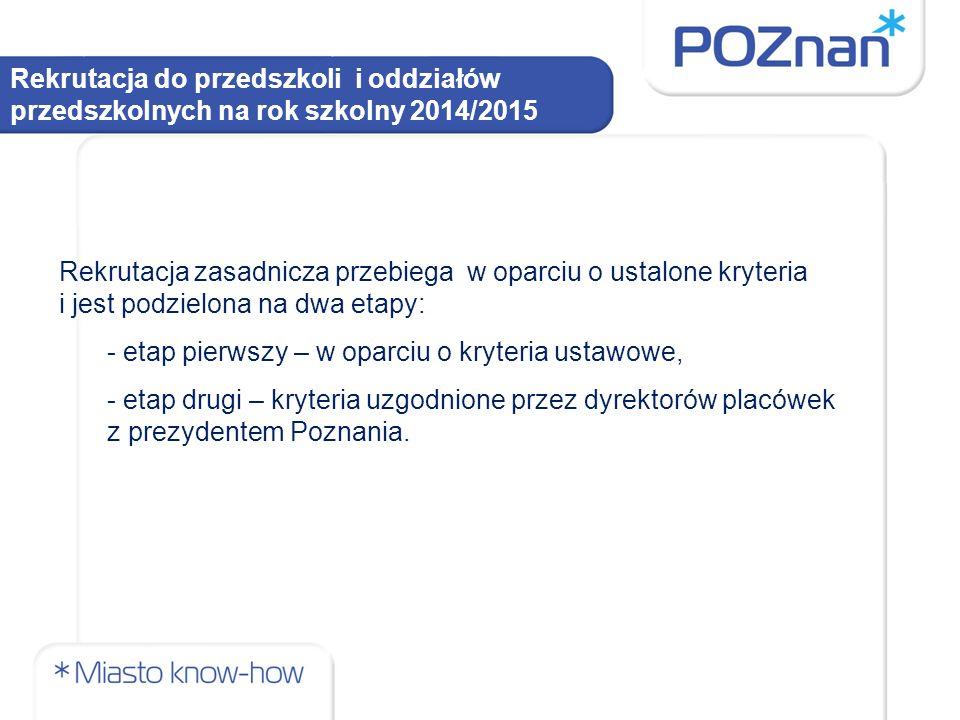 Rekrutacja do przedszkoli i oddziałów przedszkolnych na rok szkolny 2014/2015 Etap pierwszy – rekrutacja w oparciu o kryteria ustawowe.