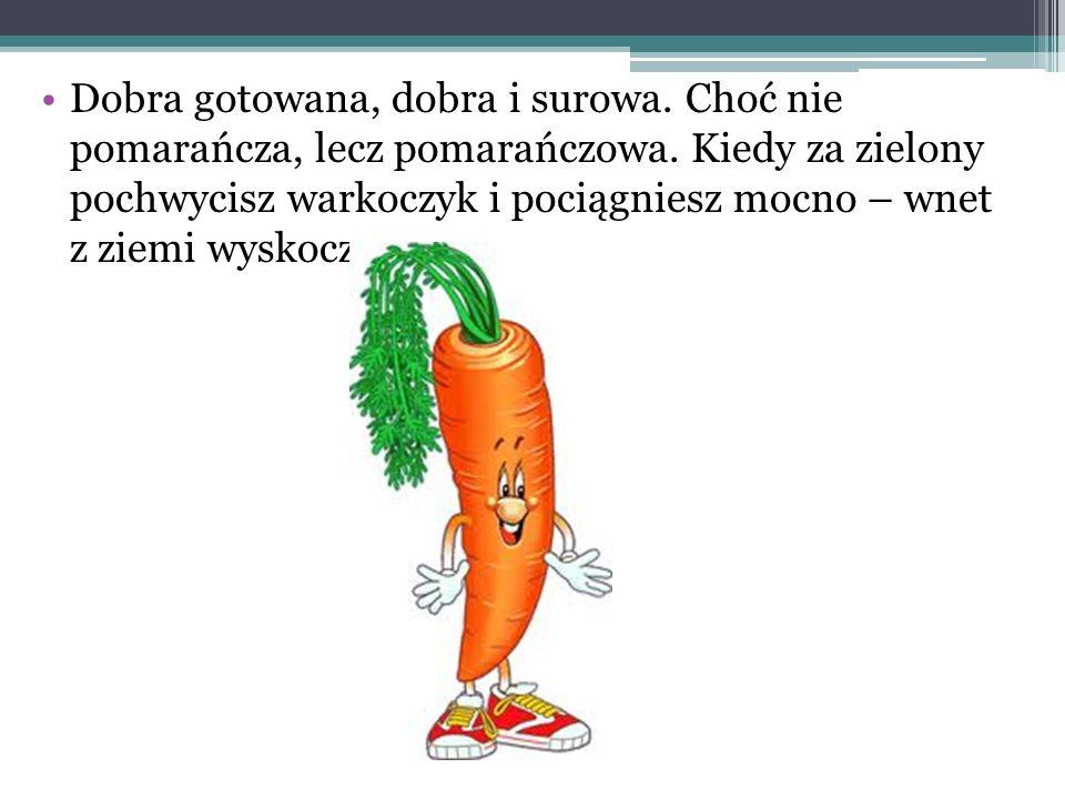 Dobra gotowana, dobra i surowa. Choć nie pomarańcza, lecz pomarańczowa. Kiedy za zielony pochwycisz warkoczyk i pociągniesz mocno – wnet z ziemi wysko