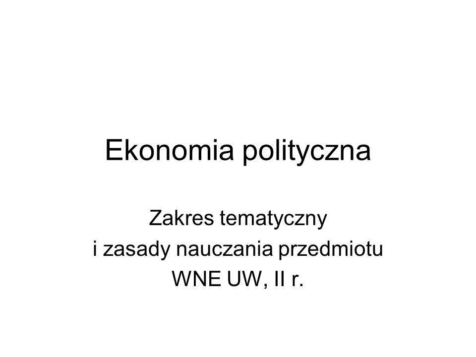 Ekonomia polityczna Zakres tematyczny i zasady nauczania przedmiotu WNE UW, II r.