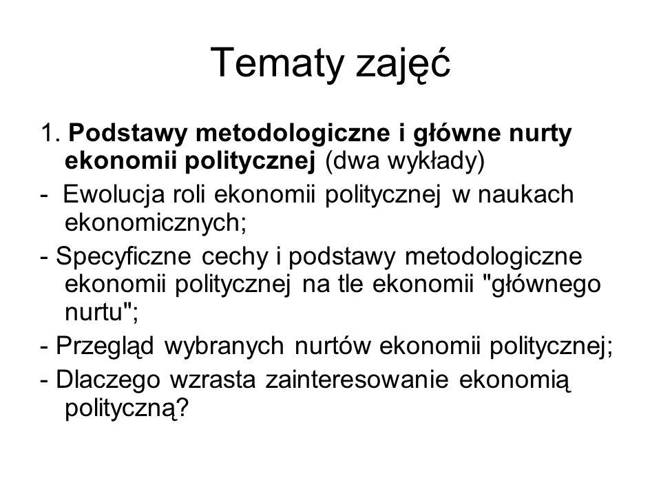 Tematy zajęć 1. Podstawy metodologiczne i główne nurty ekonomii politycznej (dwa wykłady) - Ewolucja roli ekonomii politycznej w naukach ekonomicznych
