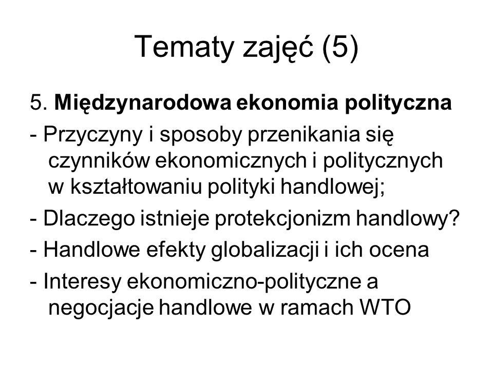 Tematy zajęć (5) 5. Międzynarodowa ekonomia polityczna - Przyczyny i sposoby przenikania się czynników ekonomicznych i politycznych w kształtowaniu po