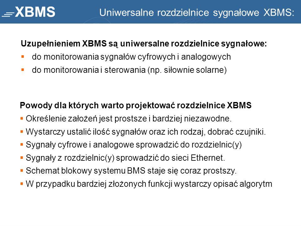 Uniwersalne rozdzielnice sygnałowe XBMS: Uzupełnieniem XBMS są uniwersalne rozdzielnice sygnałowe: do monitorowania sygnałów cyfrowych i analogowych d