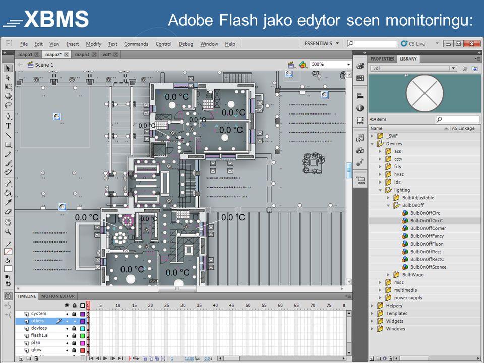 Adobe Flash jako edytor scen monitoringu:
