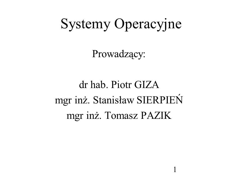 2 Systemy Operacyjne: Wykład -podstawy teoretyczne (30) Teoria i historia systemów operacyjnych Zarządzanie XP Pro Unix na bazie Linux-a Ćwiczenia (30) zarządzanie MS Windows XP Pro trochę DOS-a - wiersz poleceń, skrypty podstawy Unix-a na bazie Linux-a