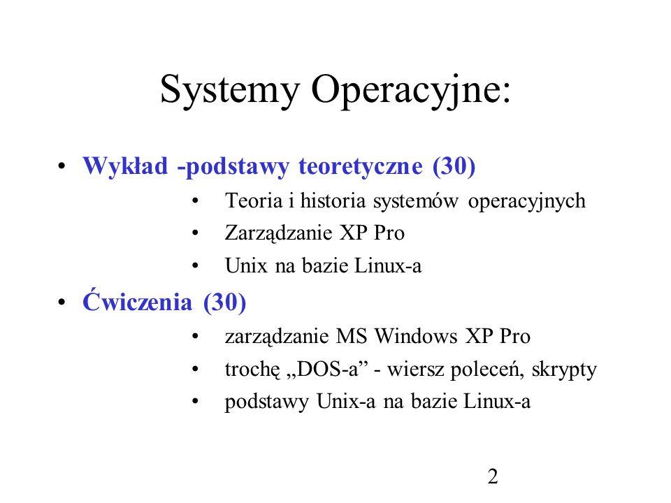 63 Funkcje systemowe : Nadzorowanie procesów operacje na plikach operacje na urządzeniach utrzymywanie informacji (przechowywanie) komunikacja