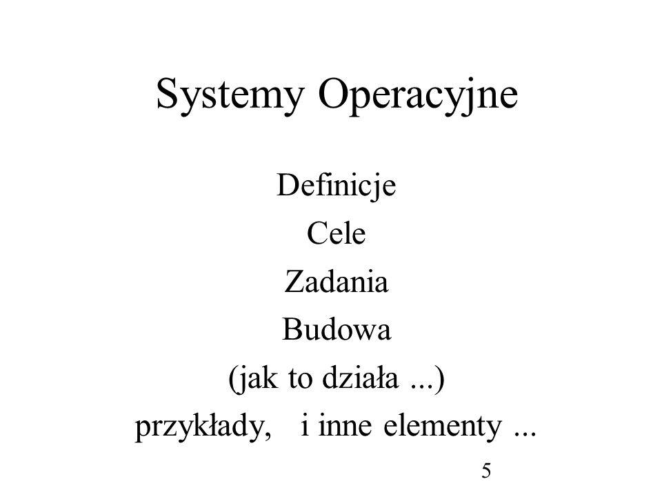 6 System komputerowy Sprzęt –CPU, pamięci, syst.plików, drukarki, sieci,...