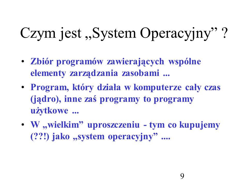 60 Składowe systemu operacyjnego : (elementy wspólne): Zarządzanie pamięcią operacyjną: –ewidencja fragmentów pamięci + procesy; –zarządzanie ładowaniem zadań do pamięci; –przydzielanie i zwalnianie obszarów pamięci...