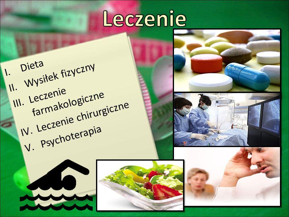 I.Dieta II.Wysiłek fizyczny III.Leczenie farmakologiczne IV.Leczenie chirurgiczne V.Psychoterapia