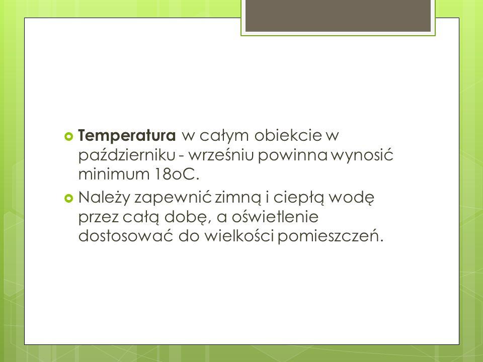 Temperatura w całym obiekcie w październiku - wrześniu powinna wynosić minimum 18oC. Należy zapewnić zimną i ciepłą wodę przez całą dobę, a oświetleni
