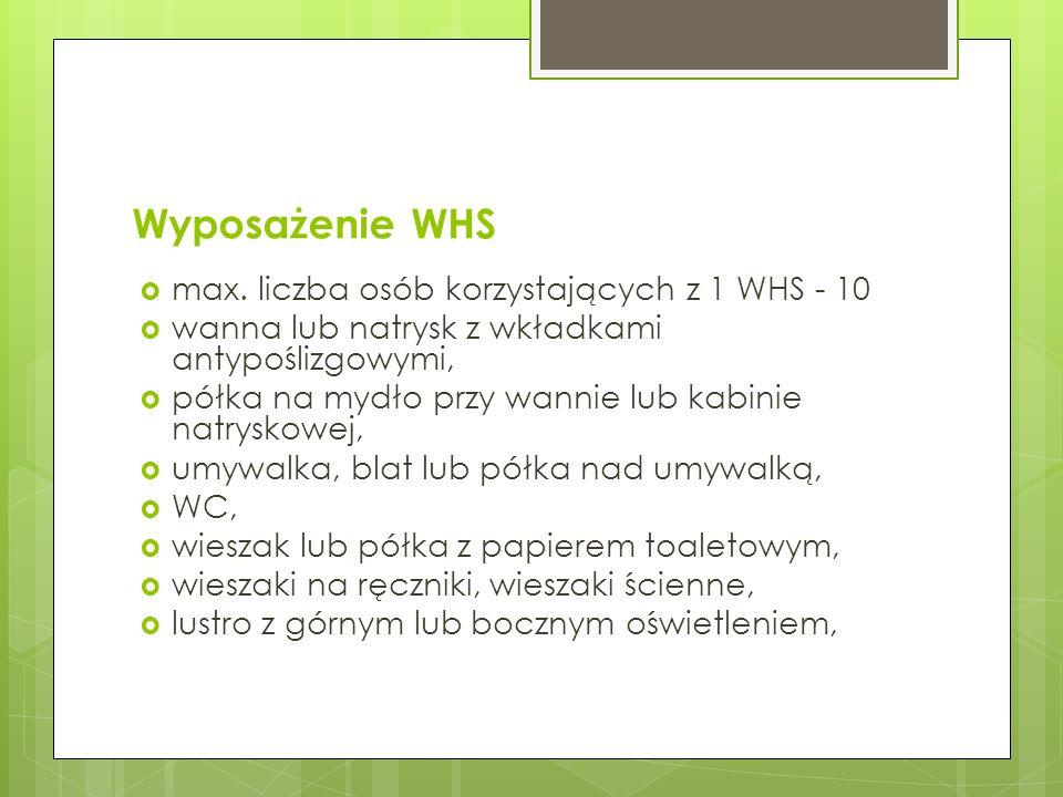 Wyposażenie WHS max. liczba osób korzystających z 1 WHS - 10 wanna lub natrysk z wkładkami antypoślizgowymi, półka na mydło przy wannie lub kabinie na