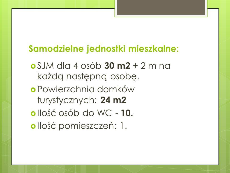 Samodzielne jednostki mieszkalne: SJM dla 4 osób 30 m2 + 2 m na każdą następną osobę. Powierzchnia domków turystycznych: 24 m2 Ilość osób do WC - 10.