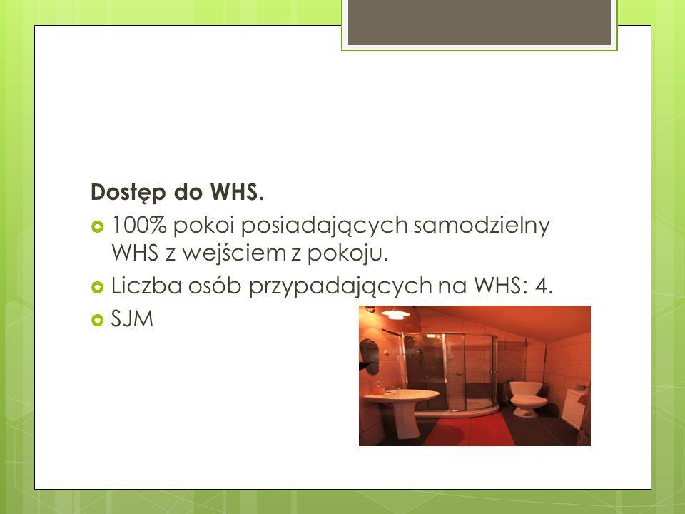 Dostęp do WHS. 100% pokoi posiadających samodzielny WHS z wejściem z pokoju. Liczba osób przypadających na WHS: 4. SJM