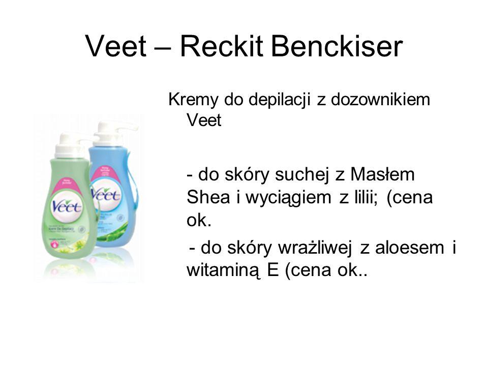 Veet – Reckit Benckiser Kremy do depilacji z dozownikiem Veet - do skóry suchej z Masłem Shea i wyciągiem z lilii; (cena ok. - do skóry wrażliwej z al
