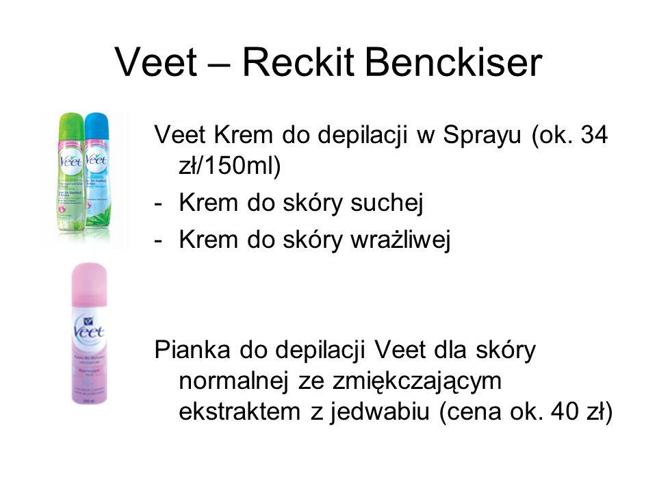Veet – Reckit Benckiser Veet Krem do depilacji w Sprayu (ok. 34 zł/150ml) -Krem do skóry suchej -Krem do skóry wrażliwej Pianka do depilacji Veet dla