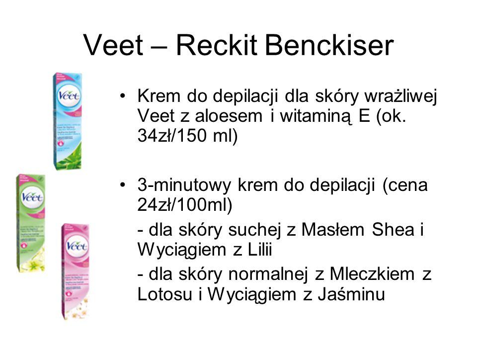 Veet – Reckit Benckiser Krem do depilacji dla skóry wrażliwej Veet z aloesem i witaminą E (ok. 34zł/150 ml) 3-minutowy krem do depilacji (cena 24zł/10