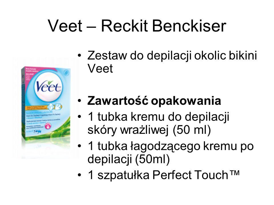 Veet – Reckit Benckiser Zestaw do depilacji okolic bikini Veet Zawartość opakowania 1 tubka kremu do depilacji skóry wrażliwej (50 ml) 1 tubka łagodzą