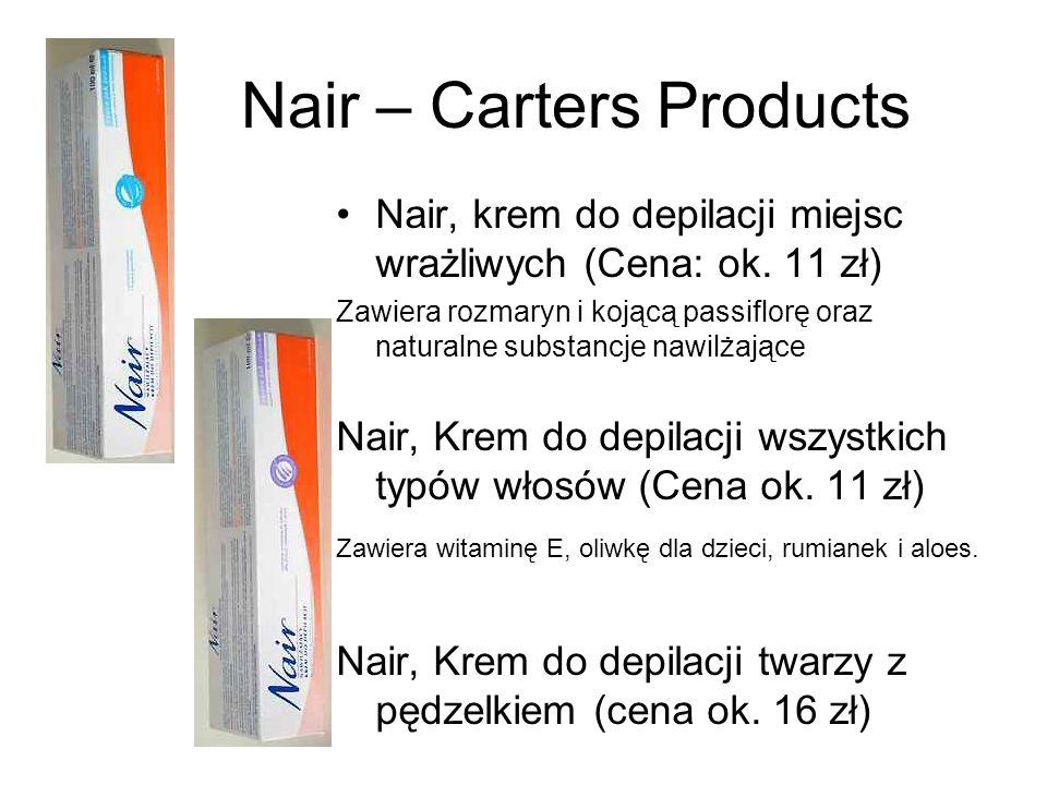 Nair – Carters Products Nair, krem do depilacji miejsc wrażliwych (Cena: ok. 11 zł) Zawiera rozmaryn i kojącą passiflorę oraz naturalne substancje naw