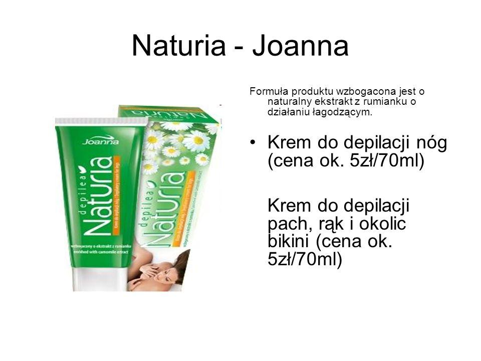 Naturia - Joanna Formuła produktu wzbogacona jest o naturalny ekstrakt z rumianku o działaniu łagodzącym. Krem do depilacji nóg (cena ok. 5zł/70ml) Kr
