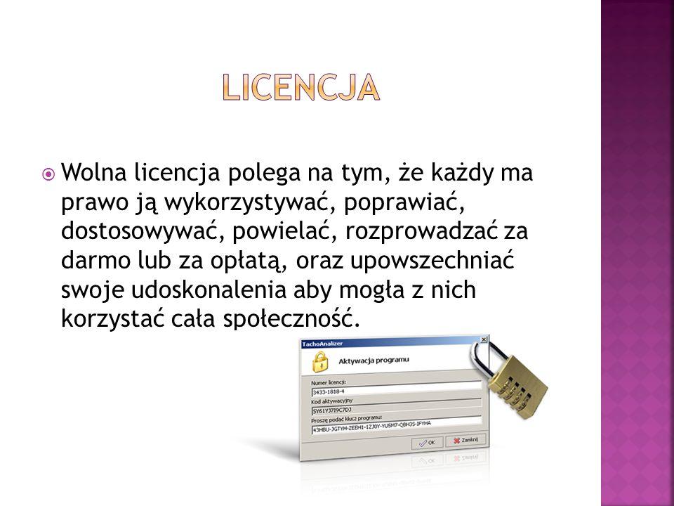 Wolna licencja polega na tym, że każdy ma prawo ją wykorzystywać, poprawiać, dostosowywać, powielać, rozprowadzać za darmo lub za opłatą, oraz upowsze