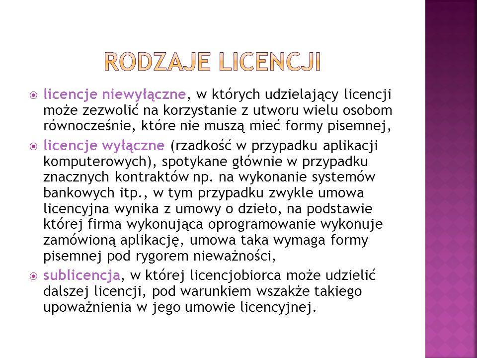 licencje niewyłączne, w których udzielający licencji może zezwolić na korzystanie z utworu wielu osobom równocześnie, które nie muszą mieć formy pisem