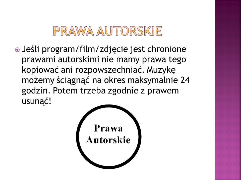 Jeśli program/film/zdjęcie jest chronione prawami autorskimi nie mamy prawa tego kopiować ani rozpowszechniać. Muzykę możemy ściągnąć na okres maksyma