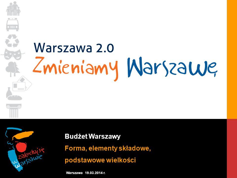 Budżet Warszawy Forma, elementy składowe, podstawowe wielkości Warszawa 19.03.2014 r.