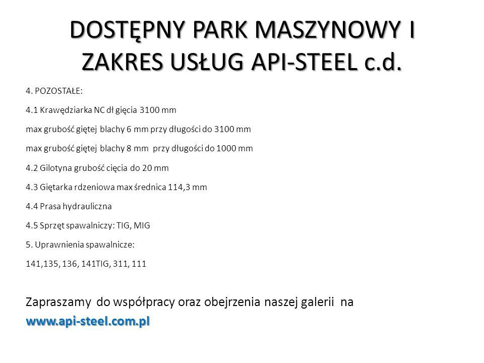 DOSTĘPNY PARK MASZYNOWY I ZAKRES USŁUG API-STEEL c.d.