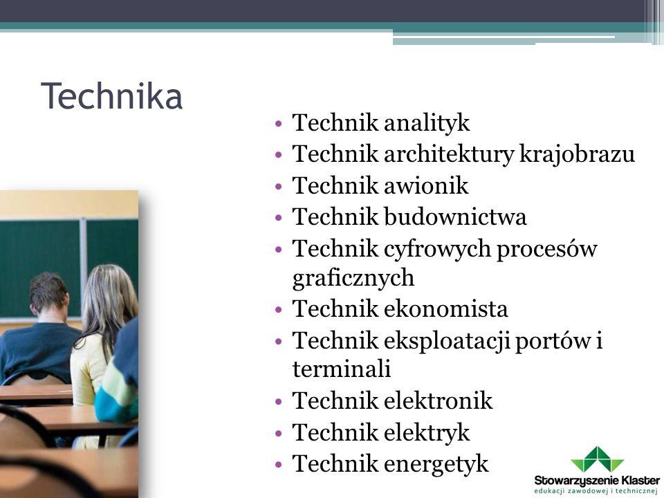 Technika Technik analityk Technik architektury krajobrazu Technik awionik Technik budownictwa Technik cyfrowych procesów graficznych Technik ekonomista Technik eksploatacji portów i terminali Technik elektronik Technik elektryk Technik energetyk