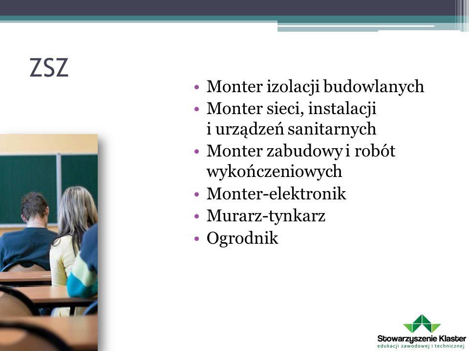 ZSZ Monter izolacji budowlanych Monter sieci, instalacji i urządzeń sanitarnych Monter zabudowy i robót wykończeniowych Monter-elektronik Murarz-tynkarz Ogrodnik
