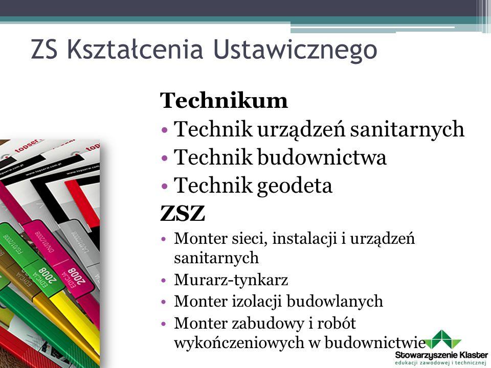 ZS Kształcenia Ustawicznego Technikum Technik urządzeń sanitarnych Technik budownictwa Technik geodeta ZSZ Monter sieci, instalacji i urządzeń sanitar