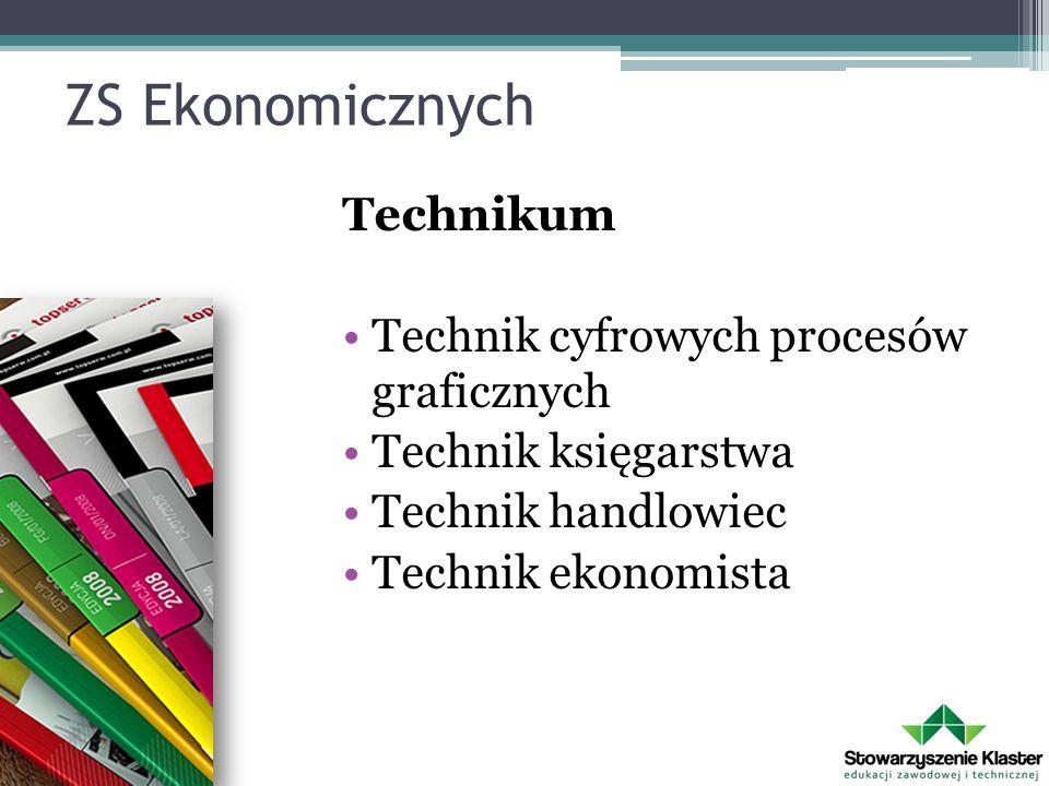 ZS Ekonomicznych Technikum Technik cyfrowych procesów graficznych Technik księgarstwa Technik handlowiec Technik ekonomista