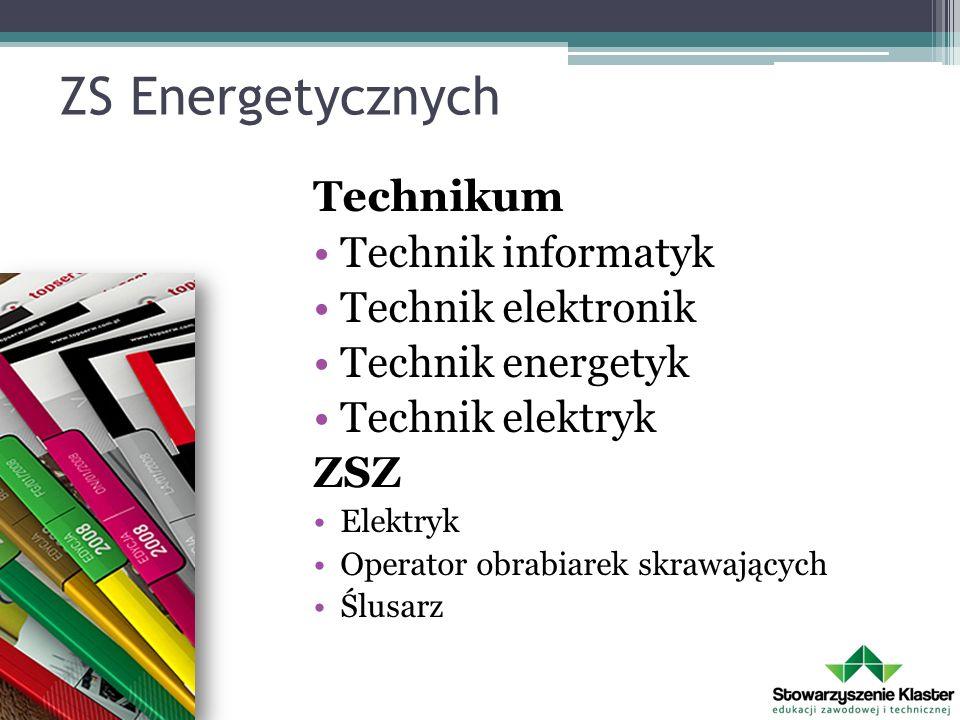 ZS Energetycznych Technikum Technik informatyk Technik elektronik Technik energetyk Technik elektryk ZSZ Elektryk Operator obrabiarek skrawających Ślu