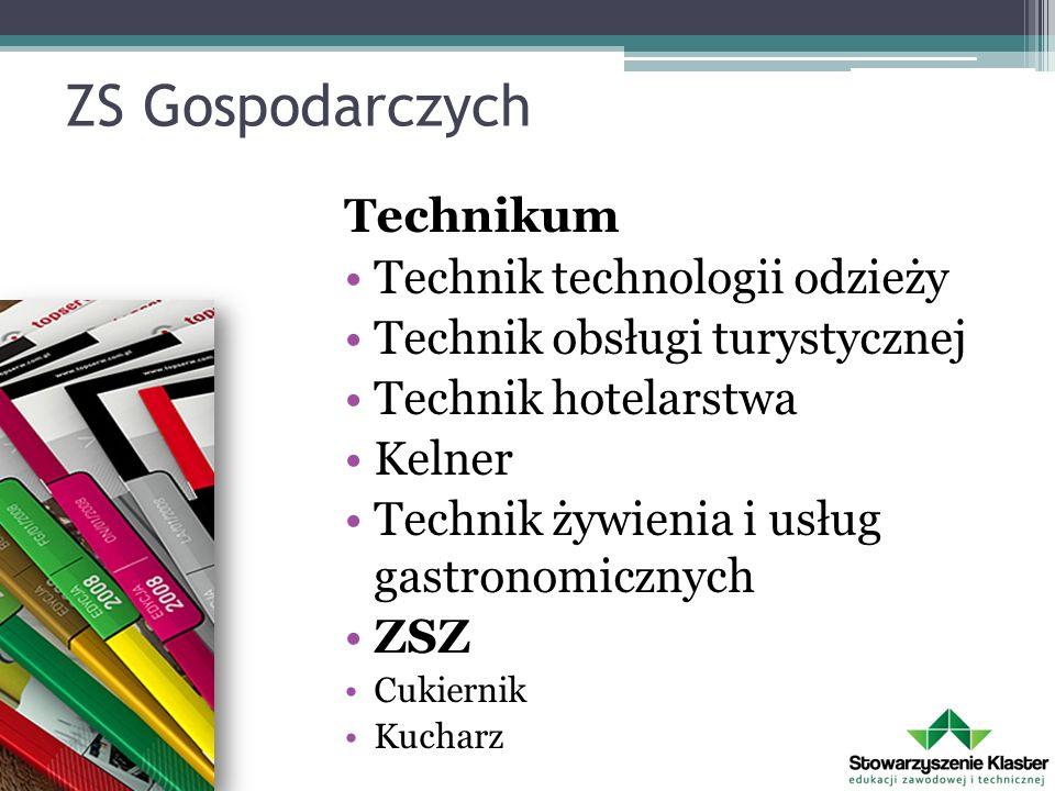 ZS Gospodarczych Technikum Technik technologii odzieży Technik obsługi turystycznej Technik hotelarstwa Kelner Technik żywienia i usług gastronomiczny