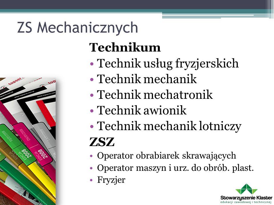 ZS Mechanicznych Technikum Technik usług fryzjerskich Technik mechanik Technik mechatronik Technik awionik Technik mechanik lotniczy ZSZ Operator obra